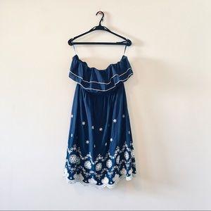Torrid strapless ruffle dress navy blue white 12